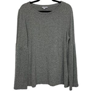 H by Halston Crew Neck Bell Sleeve Top in Grey